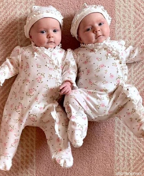 Little Me Baby Girls/' Footie and Hat Ivory Print Preemie Free Shipping