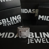 Iced Cubic Ring - Gold/White Gold