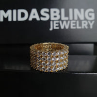 4 Row Tennis Ring - Gold/White Gold
