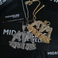 ATM Addicted To Money Baguette Pendant - Gold/White Gold
