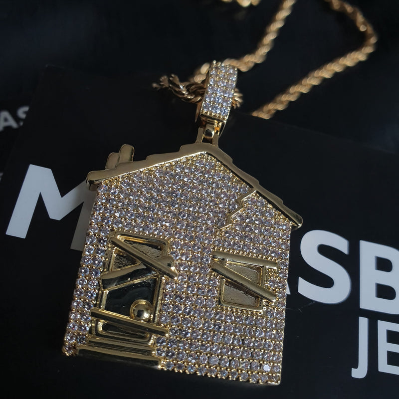 Trap House Pendant - Gold/White Gold