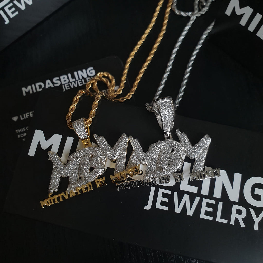 Motivated By Money Pendant - Gold/White Gold