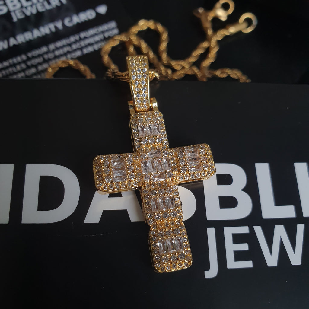 Baguette Cross Pendant - Gold/White Gold