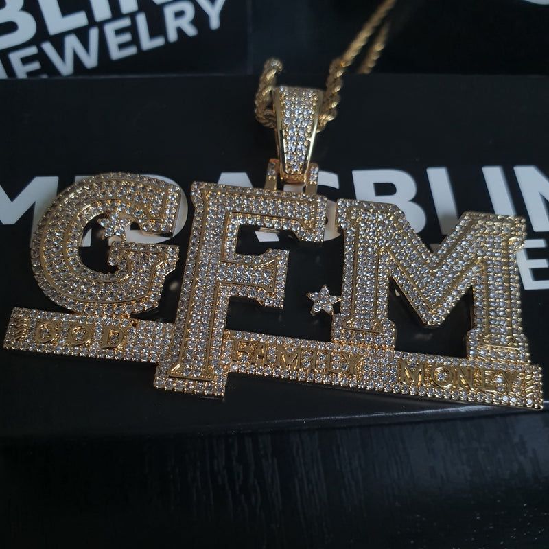 God Family Money Pendant - Gold/White Gold