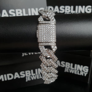 17mm Iced Out Prong Bracelet - Gold/White Gold