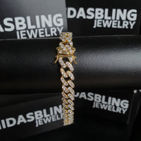 9mm Cuban Bracelet - Gold/White Gold