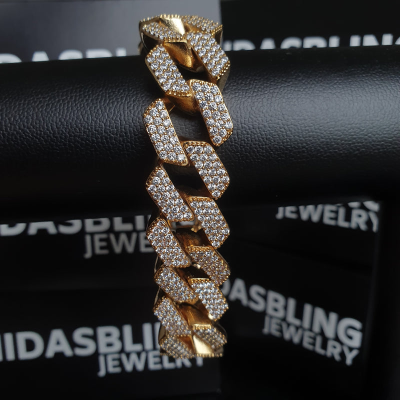 20mm Prong Bracelet - Gold/White Gold
