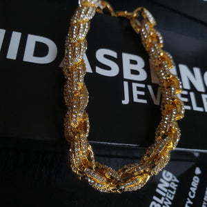 Iced Out Rope Bracelet - Gold/White Gold