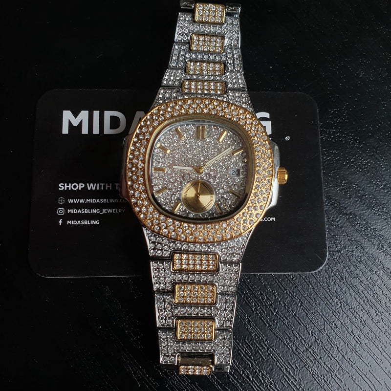 Iced Cali Watch - Gold/White Gold/Two Tone