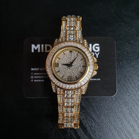 Iced Baguette Watch - Gold/White Gold/Two Tone