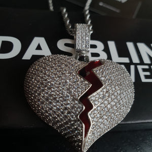 Iced Broken Heart Pendant - Gold/White Gold