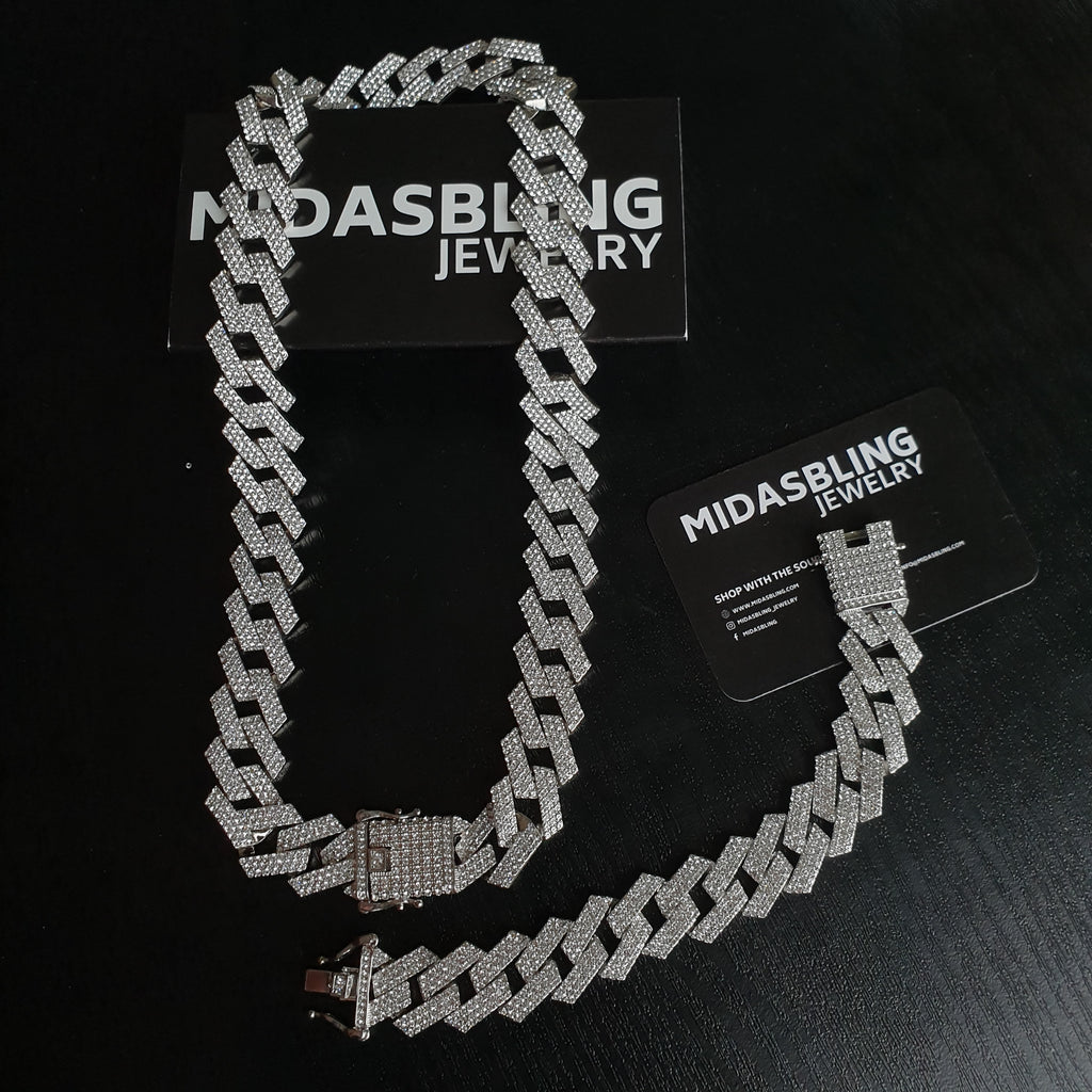 Prong Chain & Bracelet bundle - Gold/White Gold