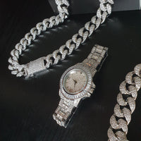 20mm Cuban Bundle & Baguette Watch - Gold/White Gold