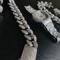 Cuban Chain, Cuban Bracelet & Miami Watch Bundle - Gold/White Gold
