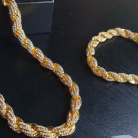 9mm Iced Rope Chain Bundle - Gold/White Gold/Rose Gold