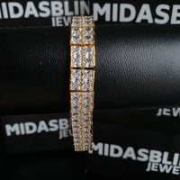 10mm 2 Row Tennis Bracelet - Gold/White Gold