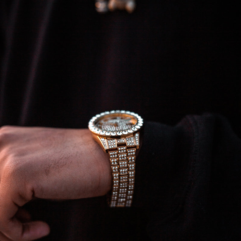 Iced Out Monte Carlo Watch - Gold/White Gold/Rose Gold