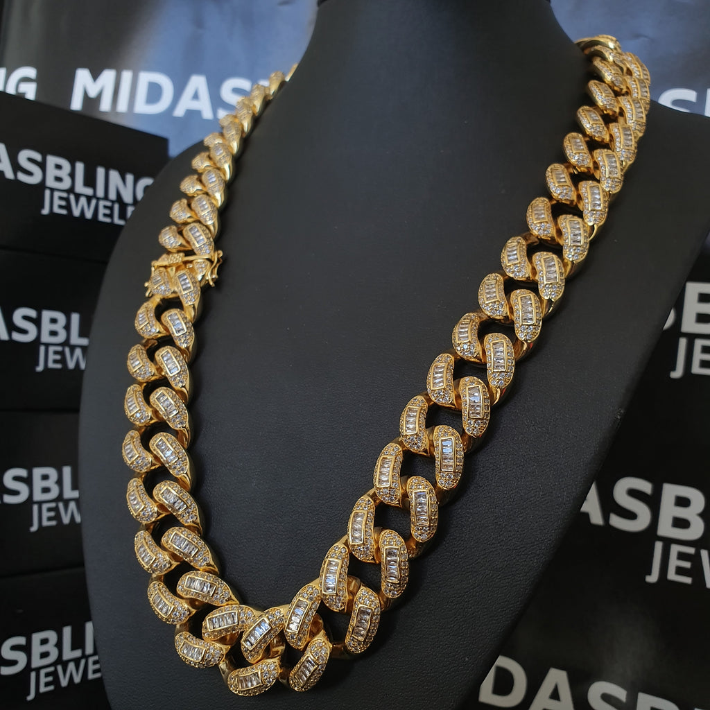 22mm Baguette Cuban Chain - Gold/White Gold