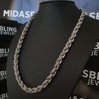 9mm Iced Rope Chain - Gold/White Gold