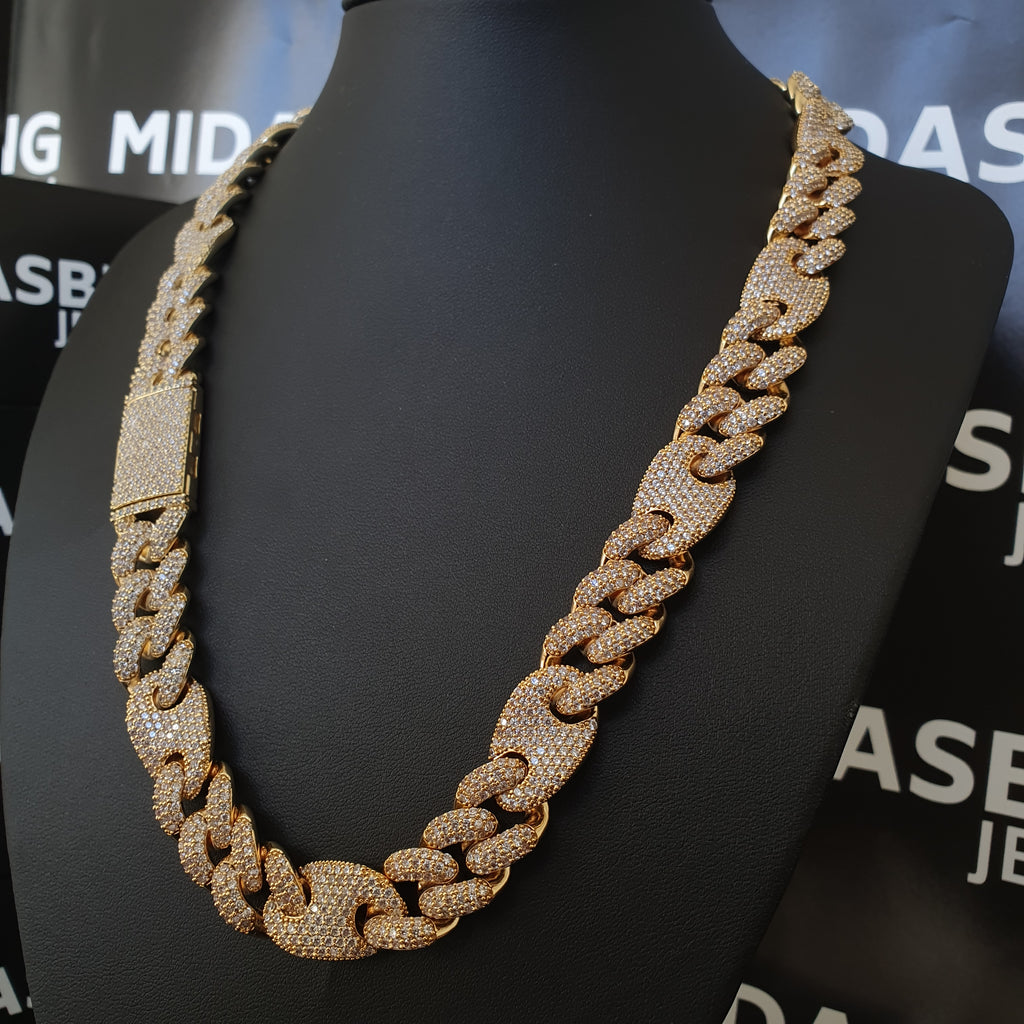 16mm Cuban & Gucci Link Chain - Gold/White Gold