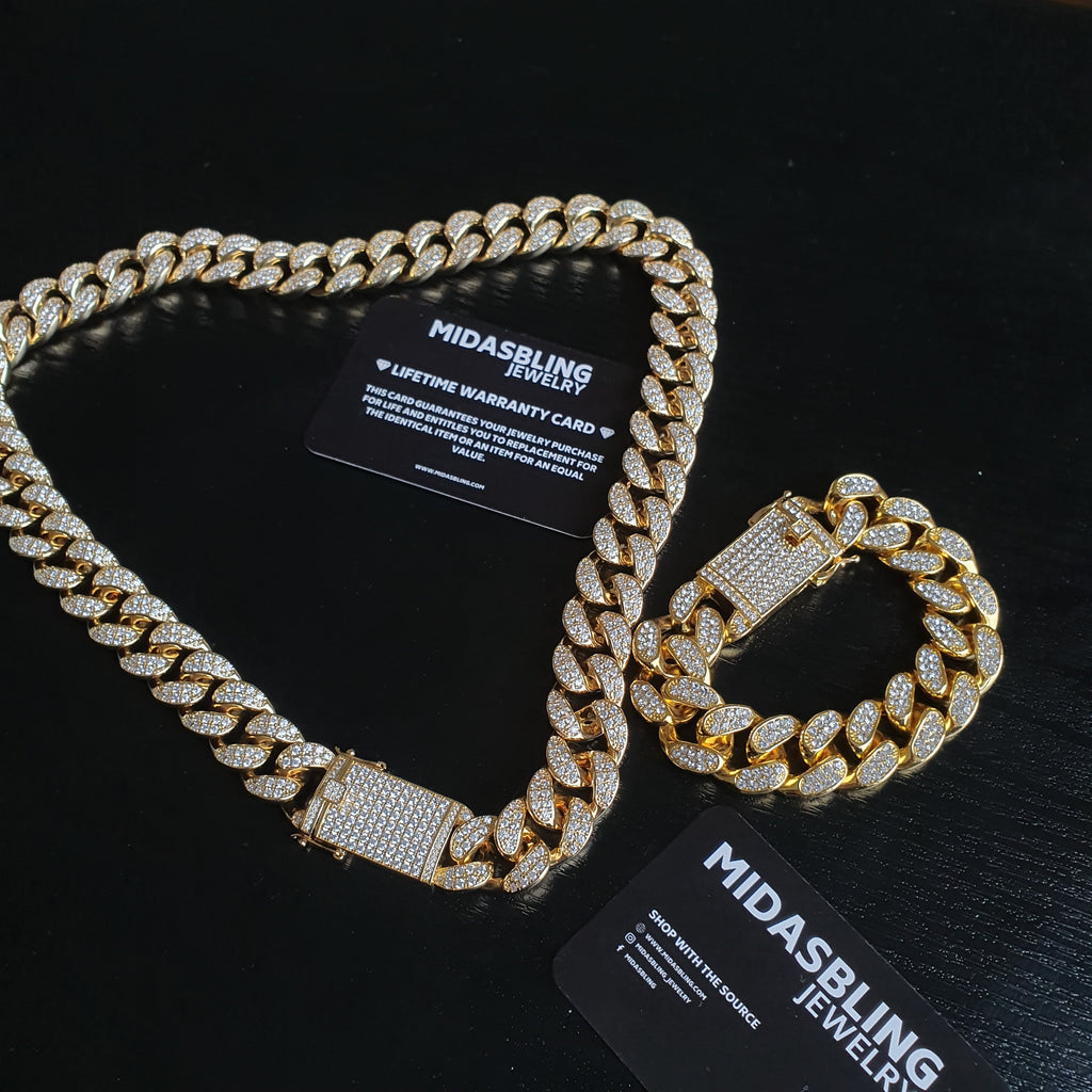 24 Karat Cuban Chain & Cuban Bracelet Bundle - Gold/White Gold
