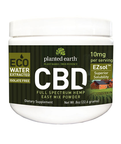 CBD Hemp Quick Mix Powder 10mg Ezsol Unflavor - 23 Grams by Planted Earth