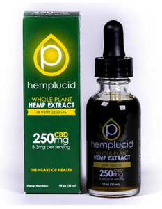 Full-Spectrum CBD in Hemp Seed Oil Tincture 250mg - 1 Oz by Hemplucid
