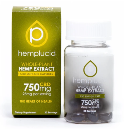 Full-Spectrum CBD Soft-Gel Capsules 25mg - 30 Softgels by Hemplucid