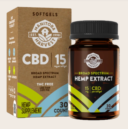 Broad Spectrum Hemp Extract Softgels 15mg CBD per softgel - 30 count by Manitoba Harvest
