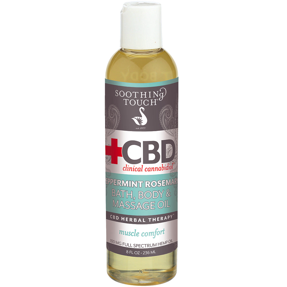 CBD Peppermint Rosemary Bath & Body Oil 100 mg - 8 Oz by Soothing Touch