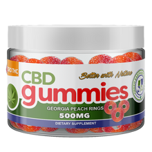 Load image into Gallery viewer, CBD Gummies Georgia Peach Rings - 30 Gummies by Green Earth Botanicals