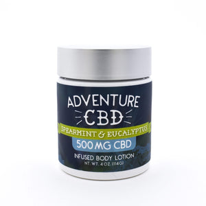 CBD Body Lotion with DMSO – Spearmint Eucalyptus 4 OZ- 500MG by Adventure