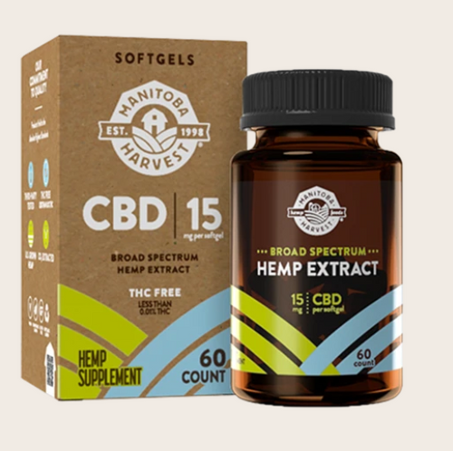 Broad Spectrum Hemp Extract Softgels -15mg CBD per softgel - 60 count by Manitoba Harvest
