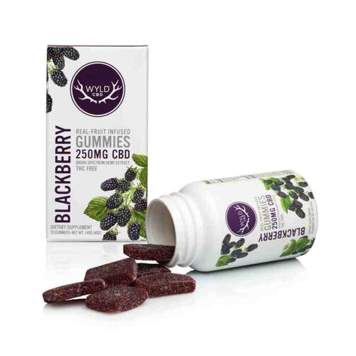 Real-Fruit Infused Blackberry Gummies 250mg -10 count by Wyld CBD