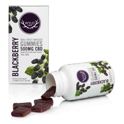 Real-Fruit Infused Blackberry Gummies 500mg -20 count by Wyld CBD