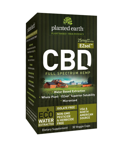 CBD Hemp Ezsol UnFlavor 25mg - 30 Caps by Planted Earth