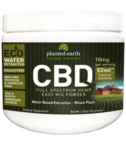 CBD Hemp Quick Mix Powder 10mg Ezsol Unflavor - 96 Grams by Planted Earth