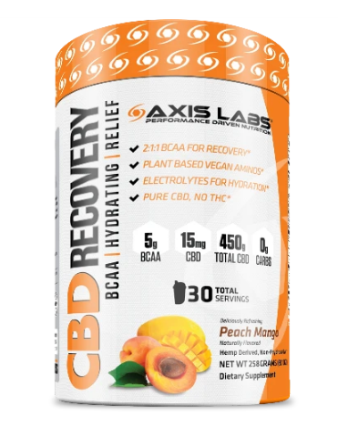 CBD Recovery BCAA 30 Servings - Peach Mango by Axis Labs Inc
