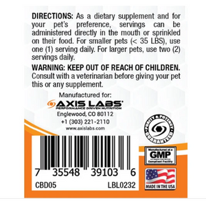 Axis Labs CBD for Dogs and Cats - 1oz Tincture (Chicken)