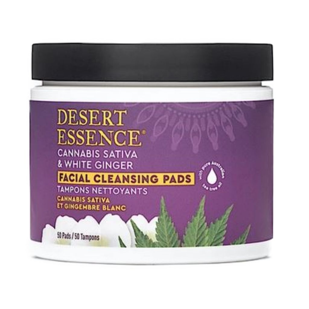 Desert Essence Cannabis Sativa Hemp & Ginger White Facial Cleaning Pads 50 Count