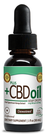 CBD Drops Total Plant Complex Formula Unsweetened 300mg - 1oz by Plus CBD Oil