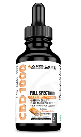 Full Spectrum CBD 1000 Oil (Orange Creamsicle) -  2 Oz by Axis Labs Inc