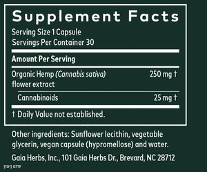 Gaia Herbs Hemp Liquid Phyto-Caps 25mg - 30 Count