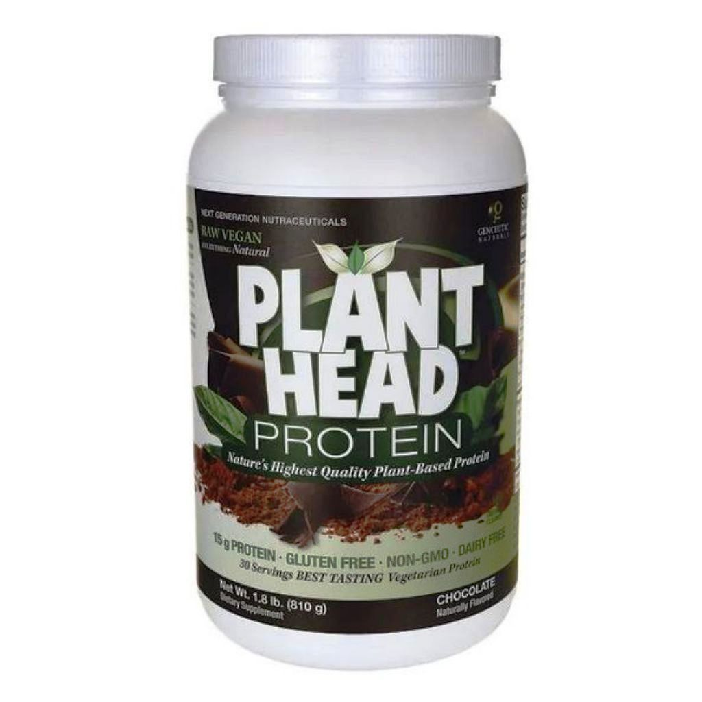 Genceutic Naturals Plant Head Protein Powder Chocolate 1.8 Lbs (810g)