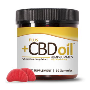 CBD Gummies Gold Formula Cherry Mango 5mg - 30 Count by Plus CBD Oil