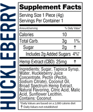 Load image into Gallery viewer, Real-Fruit Infused Huckleberry Gummies 500mg - 20 count by Wyld CBD - Facts