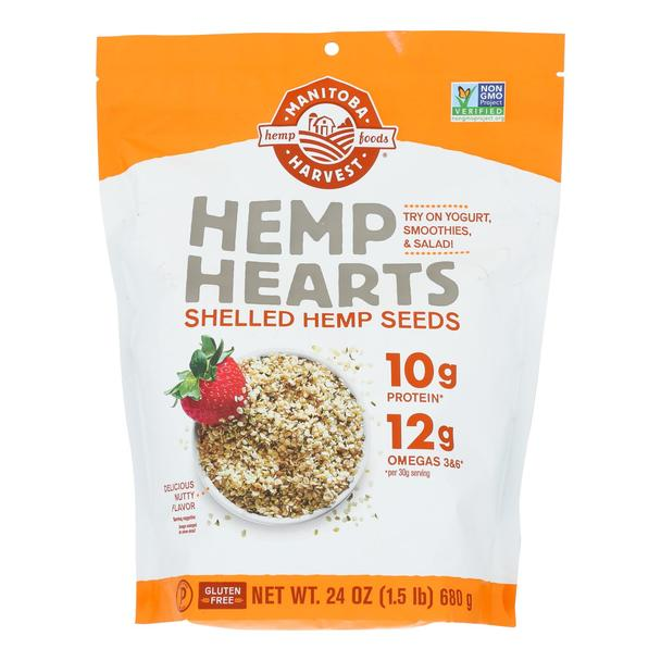Natural Hemp Hearts Shelled Hemp Seeds Nutty Flavor - 24 Oz by Manitoba Harvest