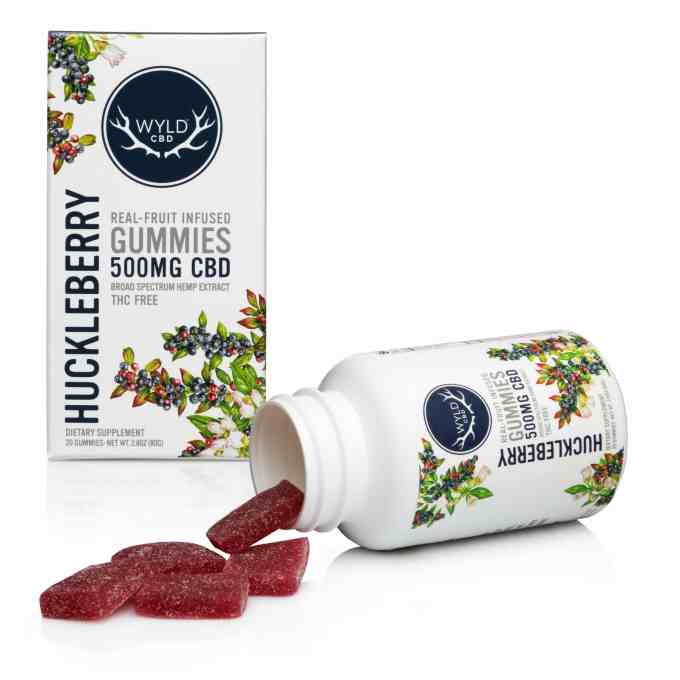 Real-Fruit Infused Huckleberry Gummies 500mg - 20 count by Wyld CBD