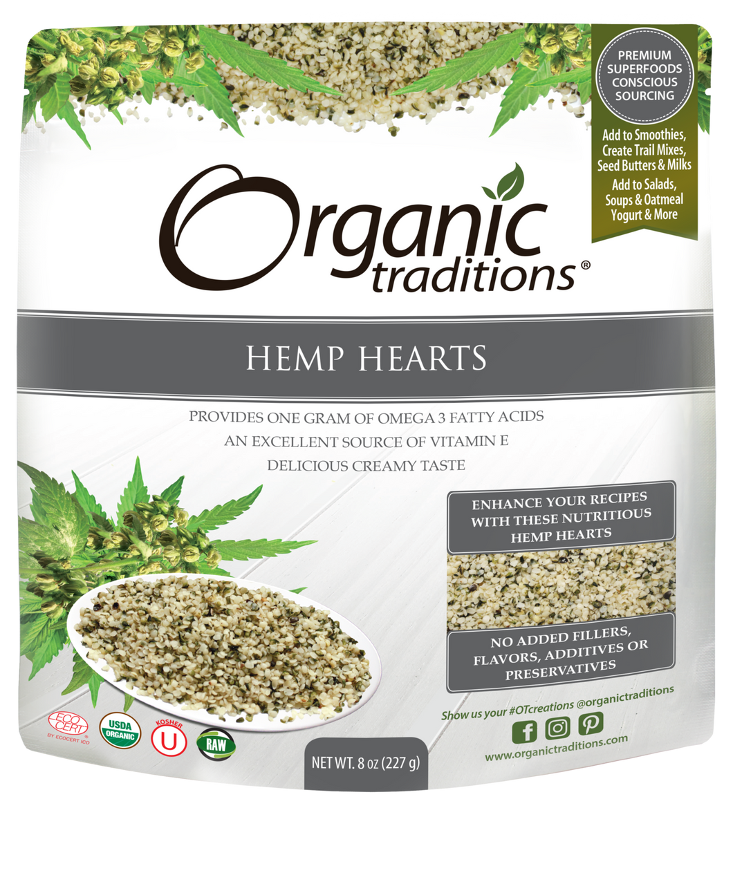 Organic Hemp Hearts 8 Oz