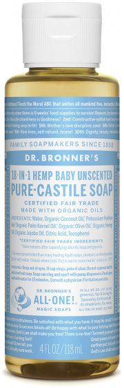 Pure-Castile Liquid Soap Baby Unscented - 4 Oz by Dr Bronner's